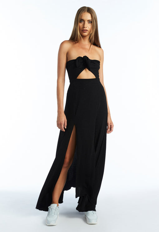The Adrianne Strapless Maxi Dress - BLACK