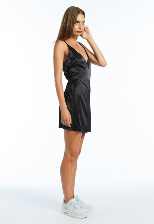 Brasilia Wrap Mini Dress - BLACK