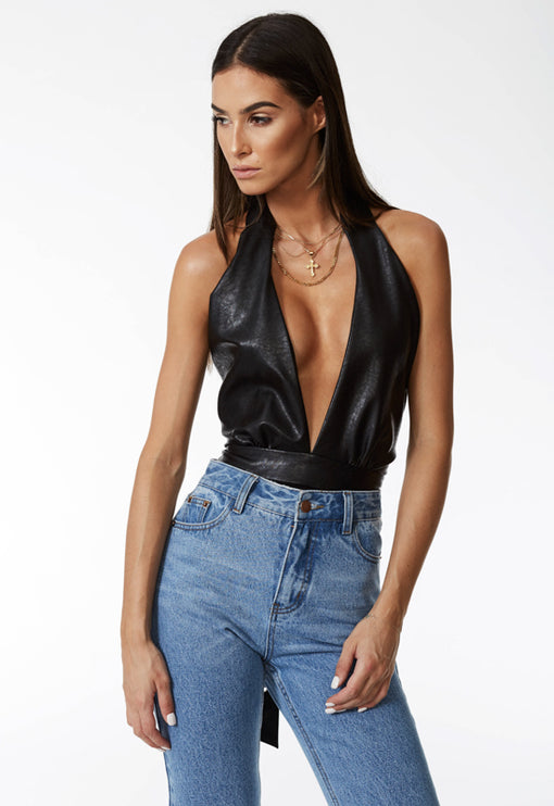 How Many Licks Halter Bodysuit - BLACK