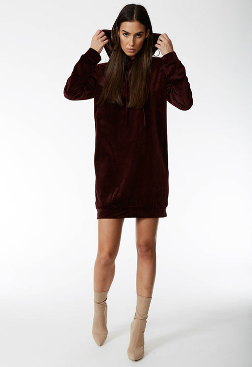 Ain't No Business Hoodie Dress - MAROON