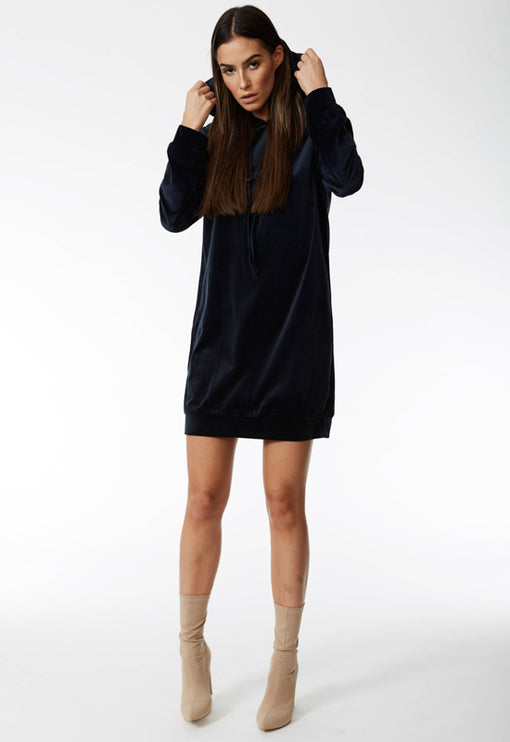 Ain't No Business Hoodie Dress - NAVY