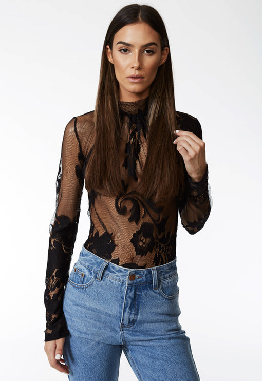 Aaliyah Lace Bodysuit - BLACK
