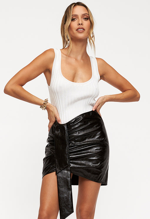 Diamonds In The Sky Mini Skirt - BLACK LEATHER