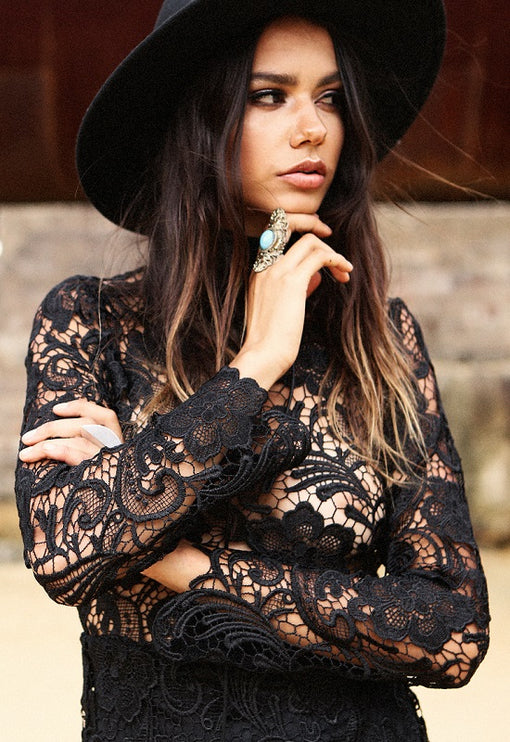 Falling For Florence Lace Dress - BLACK