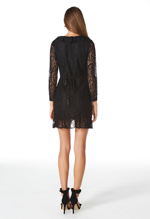 Kissing In The Dark Lace Dress - BLACK