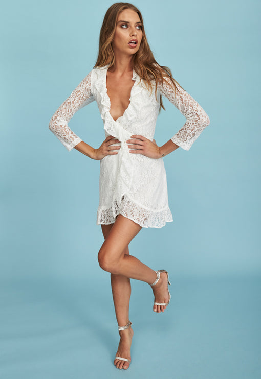 Kissing In The Dark Lace Dress - WHITE