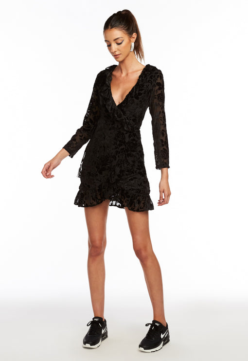 Tuscan Fling Wrap Dress - BLACK ROSE BURNOUT