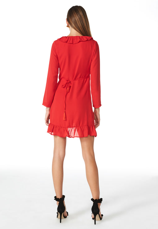 Tuscan Fling Ruffle Dress - RED
