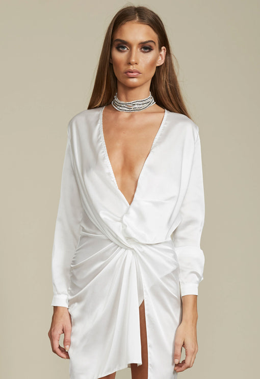 Fame and Lust Silky Dress - WHITE