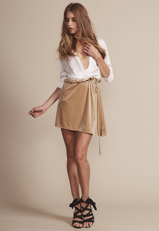 Sway Away Velvet Mini Skirt - GOLD