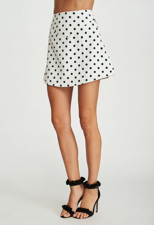 Take A Chance On Me Skirt - WHITE POLKA