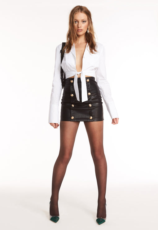 The South Bank Skirt - BLACK LEATHER