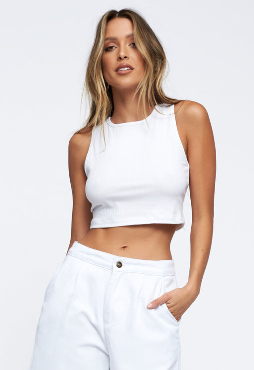 Out Of Reach Crop Top - WHITE