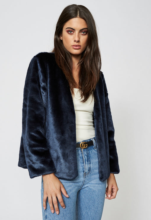 Too Damn Famous Faux Fur - NAVY