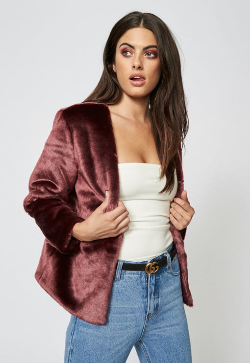 Too Damn Famous Faux Fur - PLUM