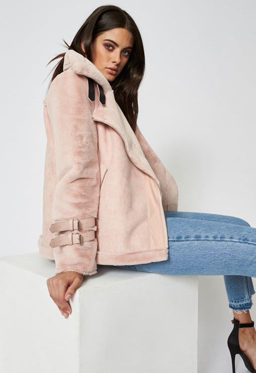 Empire Buckle Coat - BLUSH