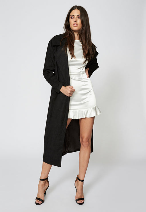 The Vault Suede Coat - BLACK