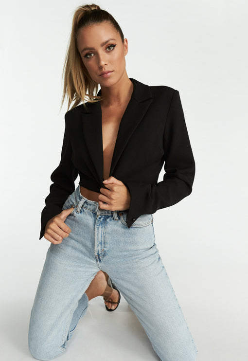 Ace Of Spades Cropped Blazer - BLACK