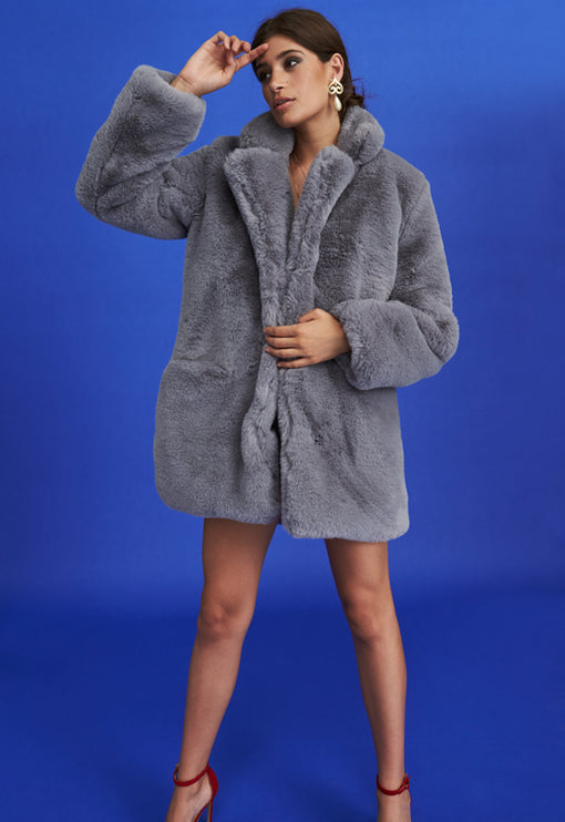 Don't Need You Faux Fur - GREY