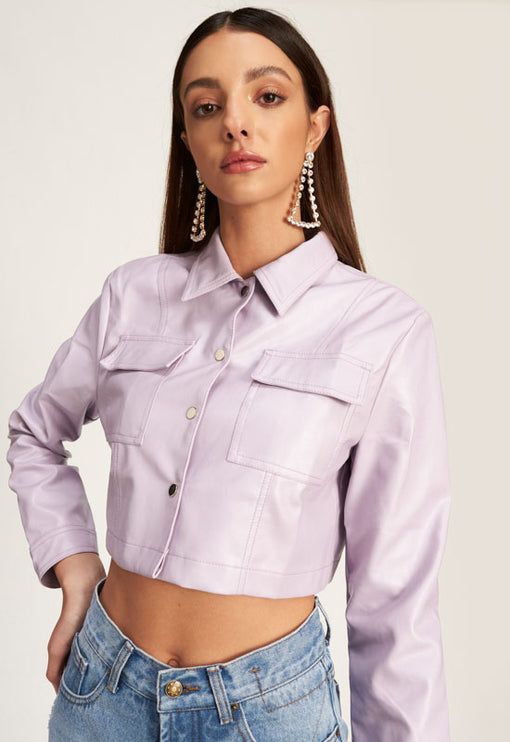 Hudson Crop Jacket - PURPLE