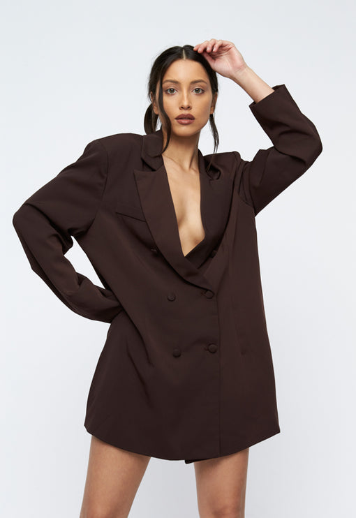 The Belmont Avenue Blazer- BROWN