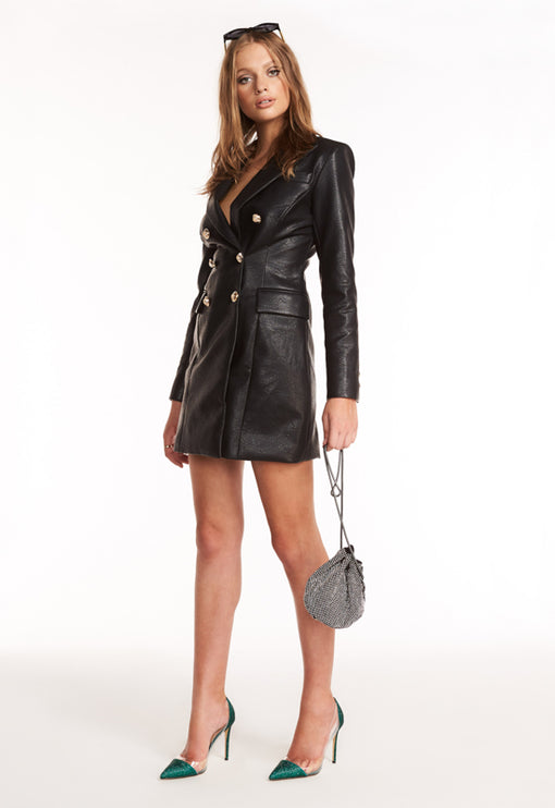 The Oxford Blazer Dress - BLACK LEATHER
