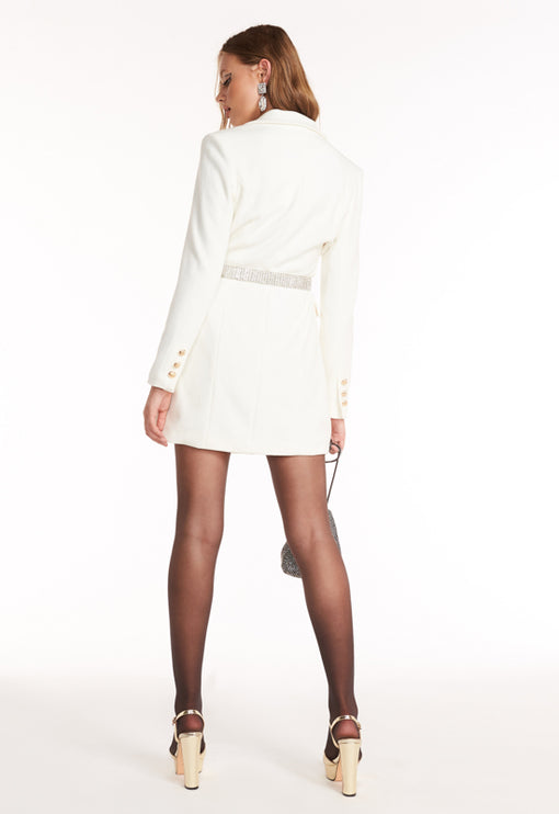 The Oxford Blazer Dress - WHITE