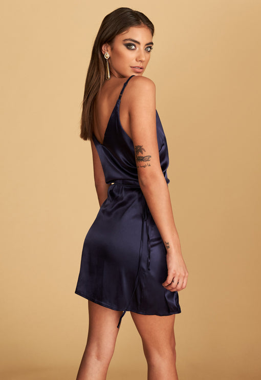 Brasilia Wrap Mini Dress - NAVY