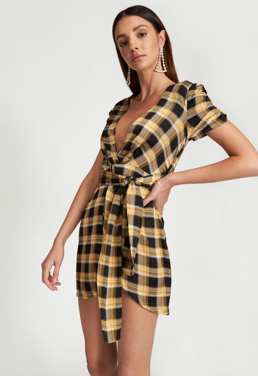 Drive Them Wylde Dress - YELLOW CHECK