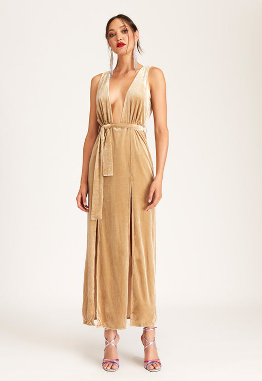 Shut It Down Velvet Dress - NUDE
