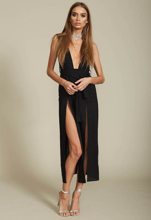 Esperanza Plunging Dress - BLACK
