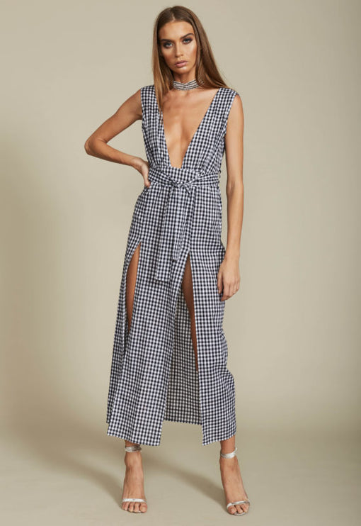 Esperanza Plunging Dress - BLACK GINGHAM