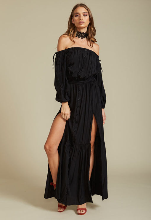 Summer Punch Maxi Dress - BLACK