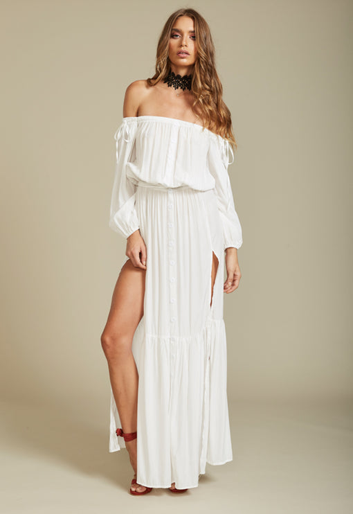 Summer Punch Maxi Dress- WHITE