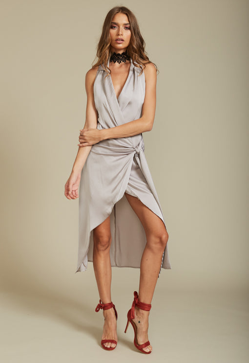 Eyes Wide Shut Wrap Dress - GREY