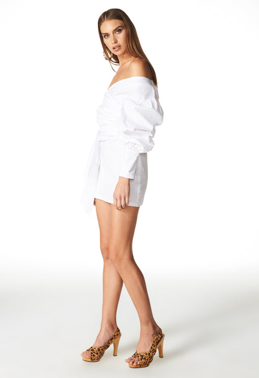 Feline Off Shoulder Dress - WHITE