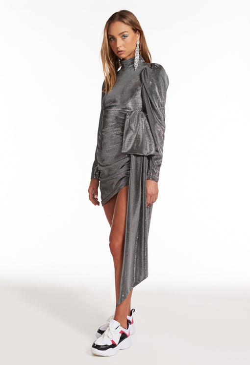 Empire Long Sleeve Dress - SILVER