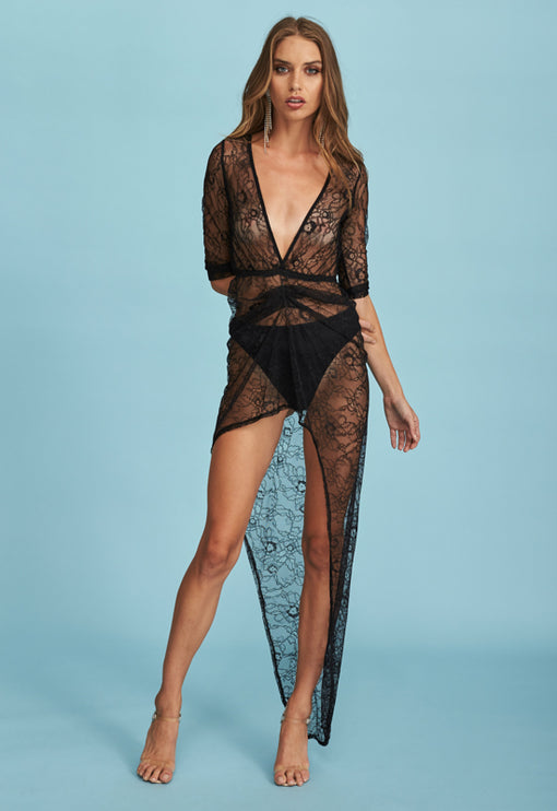 Made You Look Plunge Dress - BLACK LACE