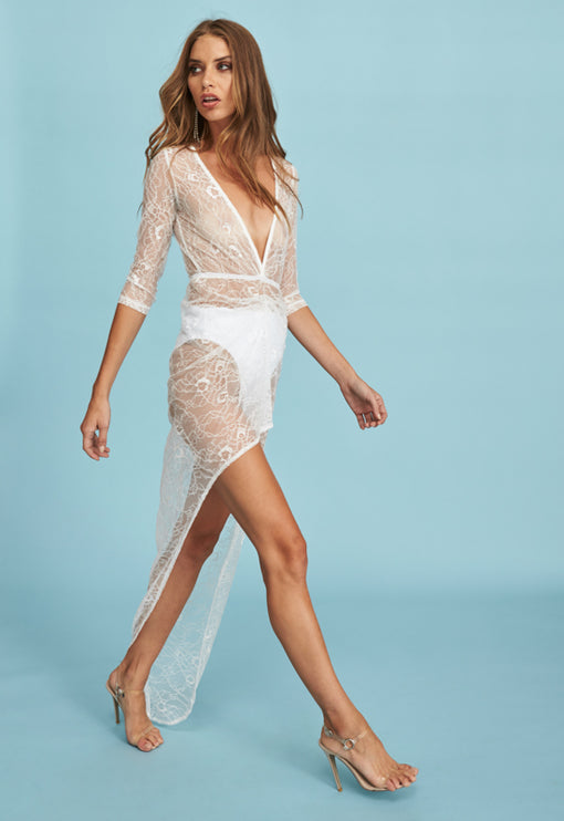 Made You Look Plunge Dress - WHITE LACE
