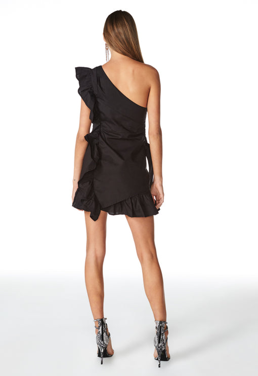Sliding Doors Ruffle Dress - BLACK