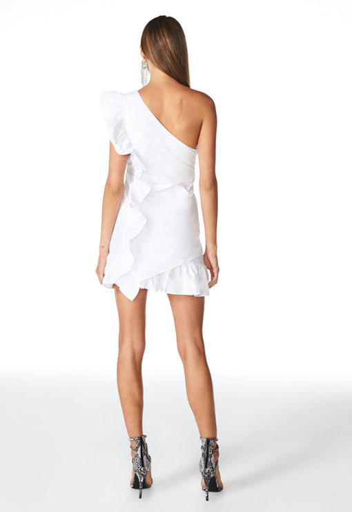 Sliding Doors Ruffle Dress - WHITE