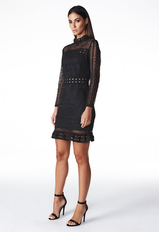 Unforgettable Lace Mini Dress - BLACK
