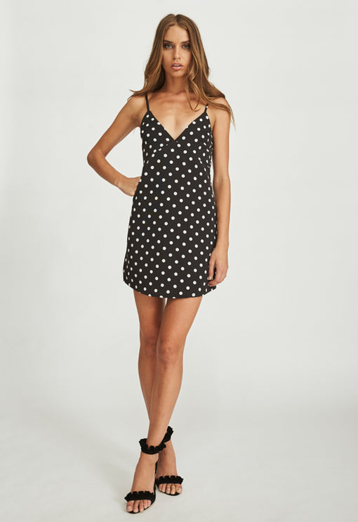 Tiny Dancer Dress - BLACK POLKA
