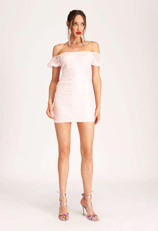 Aimee Off Shoulder Mini Dress - PINK