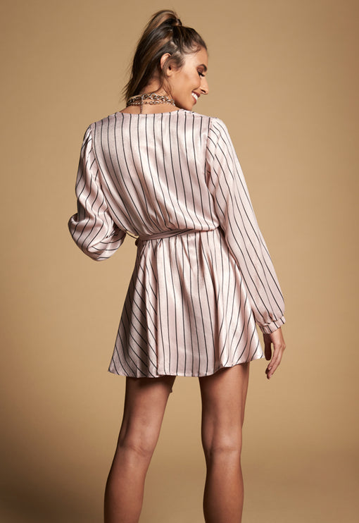 Flaunt It Dress - PINK STRIPE
