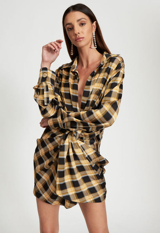 Hey You Shirt Dress - YELLOW CHECK