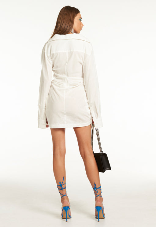 Hey You Shirt Dress - WHITE