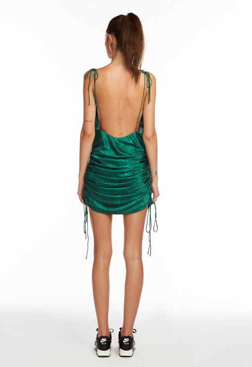 String Along Mini Dress - GREEN ZEBRA