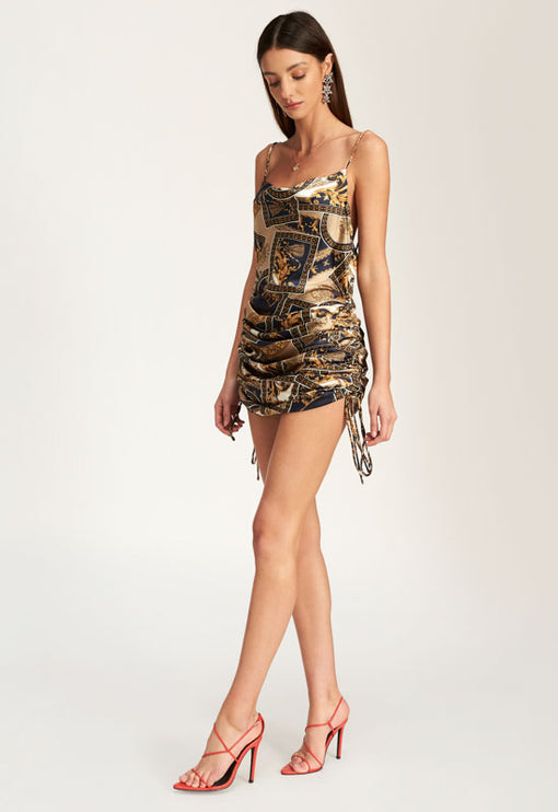 String Along Mini Dress - GOLD CHAIN