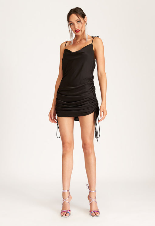 String Along Mini Dress - BLACK